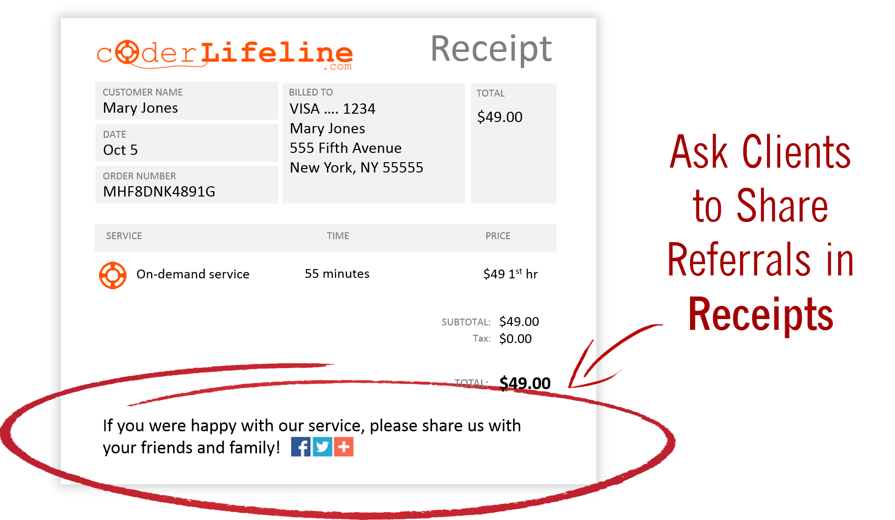 How to Get Referrals - Ask Clients To Share Referrals In Receipts