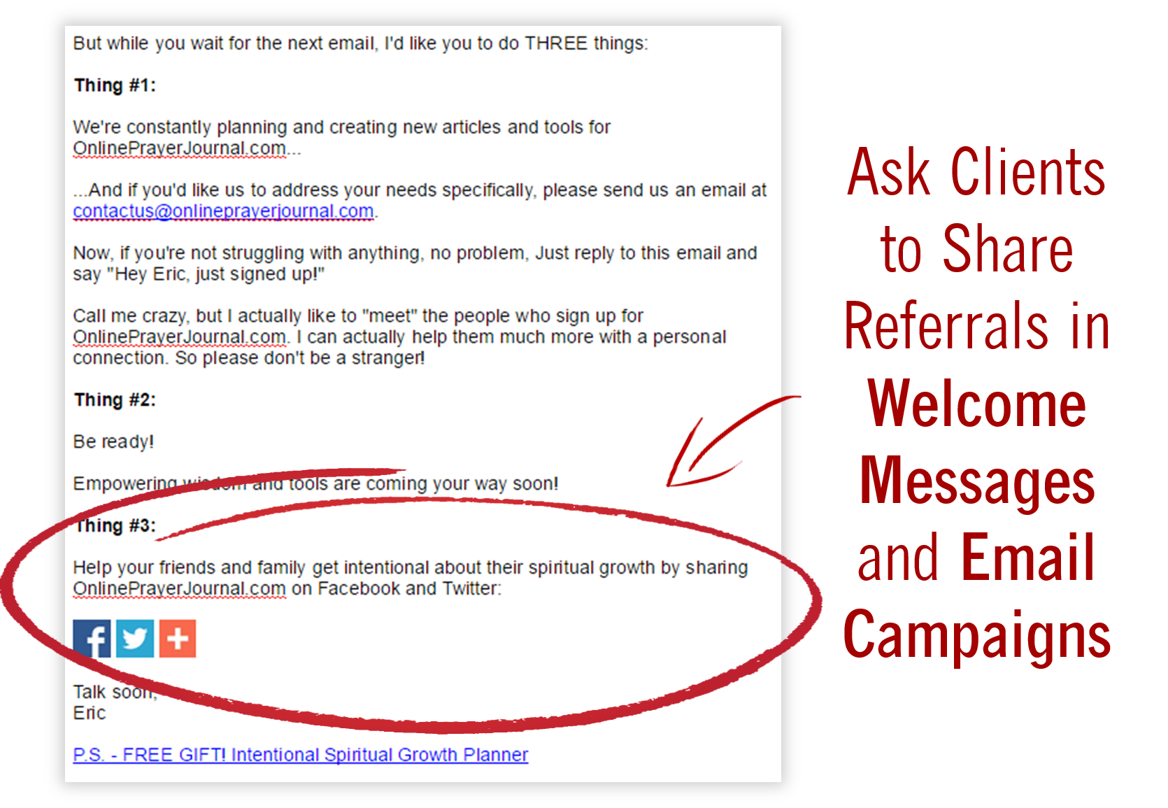 How to Get Referrals - Ask Clients To Share Referrals In Welcome Messages And Email Campaigns